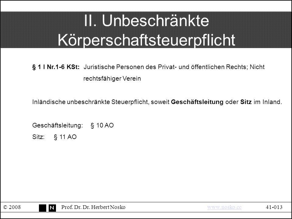 II. Unbeschränkte Körperschaftsteuerpflicht © 2008Prof.