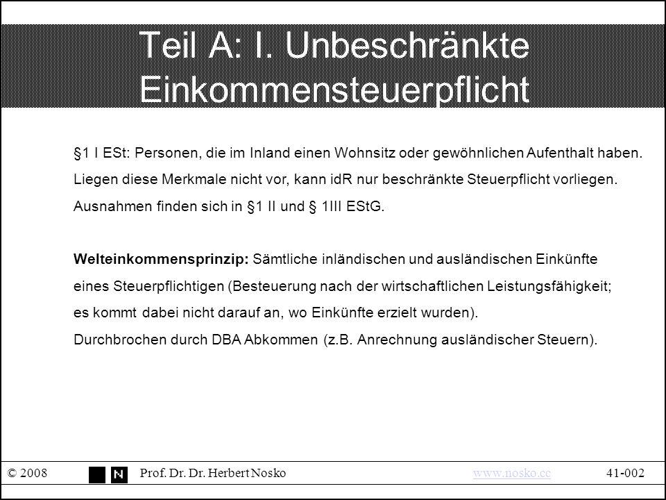 II.Unbeschränkte Körperschaftsteuerpflicht © 2008Prof.