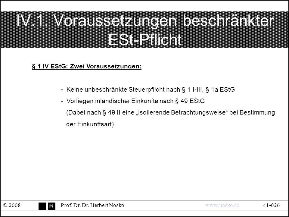 IV.1.Voraussetzungen beschränkter ESt-Pflicht © 2008Prof.
