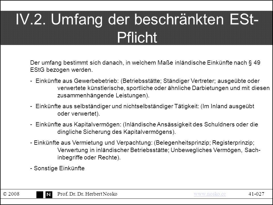 IV.2. Umfang der beschränkten ESt- Pflicht © 2008Prof.
