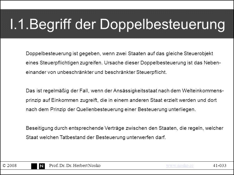 I.1.Begriff der Doppelbesteuerung © 2008Prof. Dr.