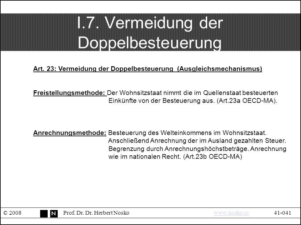 I.7.Vermeidung der Doppelbesteuerung © 2008Prof. Dr.