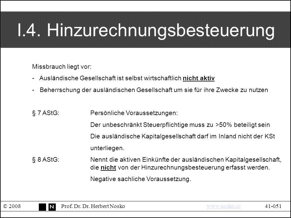I.4.Hinzurechnungsbesteuerung © 2008Prof. Dr. Dr.