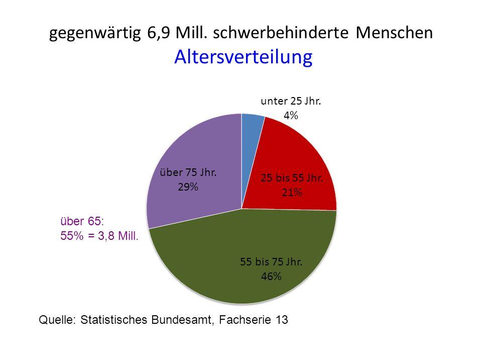 gegenwärtig 6,9 Mill. schwerbehinderte Menschen Altersverteilung Quelle: Statistisches Bundesamt, Fachserie 13 über 65: 55% = 3,8 Mill.