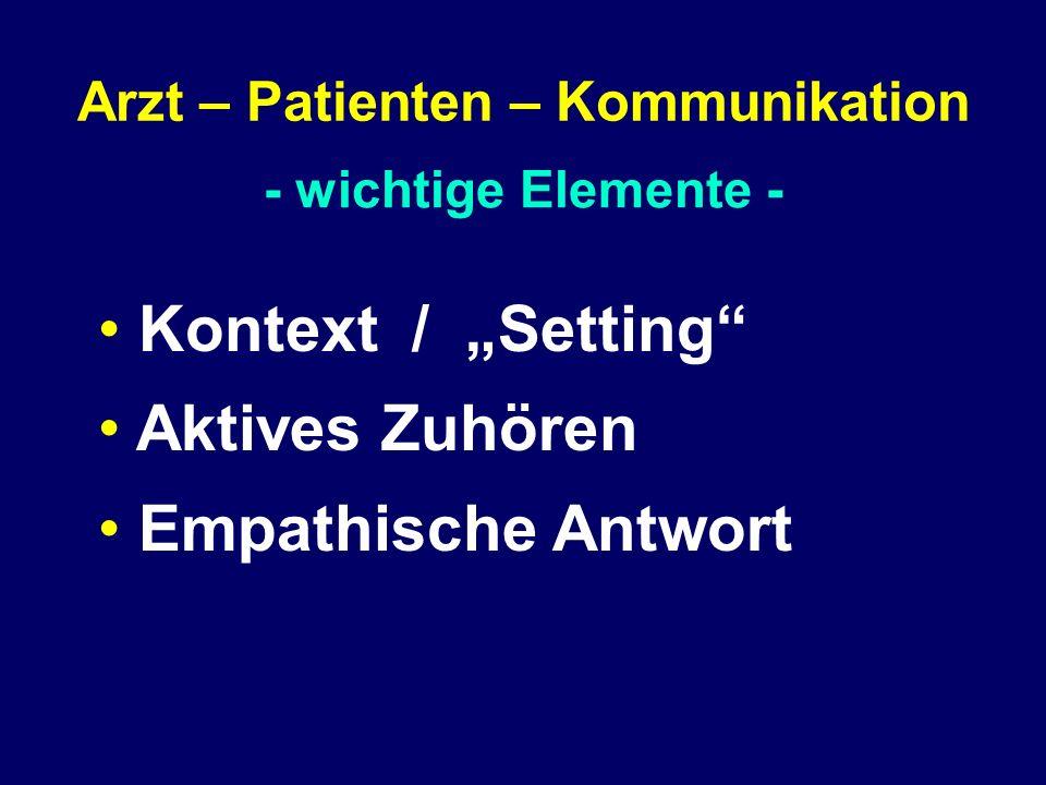 """- wichtige Elemente - Arzt – Patienten – Kommunikation Kontext / """"Setting"""" Aktives Zuhören Empathische Antwort"""