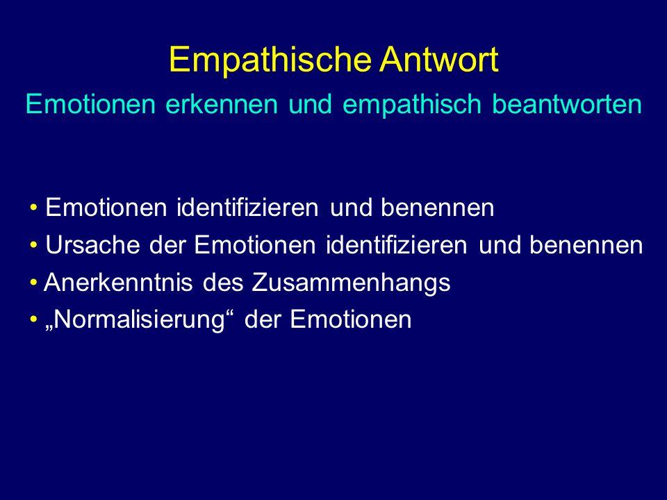"""Emotionen erkennen und empathisch beantworten Emotionen identifizieren und benennen Ursache der Emotionen identifizieren und benennen Anerkenntnis des Zusammenhangs """"Normalisierung der Emotionen"""