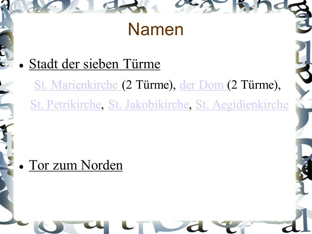 Namen Stadt der sieben Türme St. Marienkirche St.