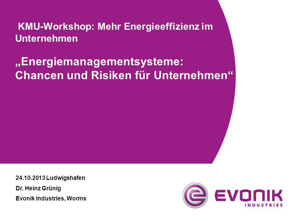 """24.10.2013 Ludwigshafen Dr. Heinz Grünig Evonik Industries, Worms KMU-Workshop: Mehr Energieeffizienz im Unternehmen """"Energiemanagementsysteme: Chance"""