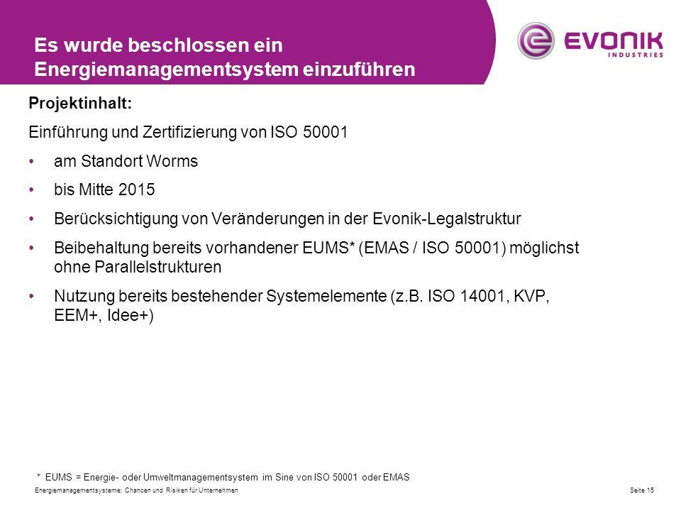 Es wurde beschlossen ein Energiemanagementsystem einzuführen Projektinhalt: Einführung und Zertifizierung von ISO 50001 am Standort Worms bis Mitte 2015 Berücksichtigung von Veränderungen in der Evonik-Legalstruktur Beibehaltung bereits vorhandener EUMS* (EMAS / ISO 50001) möglichst ohne Parallelstrukturen Nutzung bereits bestehender Systemelemente (z.B.