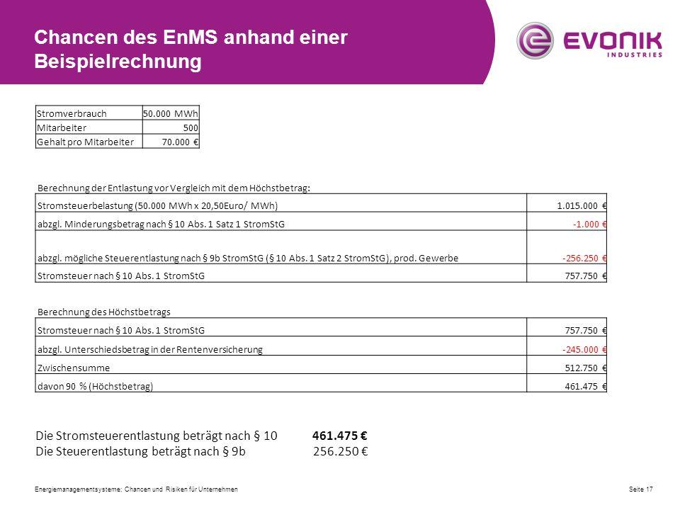 Chancen des EnMS anhand einer Beispielrechnung Berechnung der Entlastung vor Vergleich mit dem Höchstbetrag: Stromsteuerbelastung (50.000 MWh x 20,50Euro/ MWh)1.015.000 € abzgl.