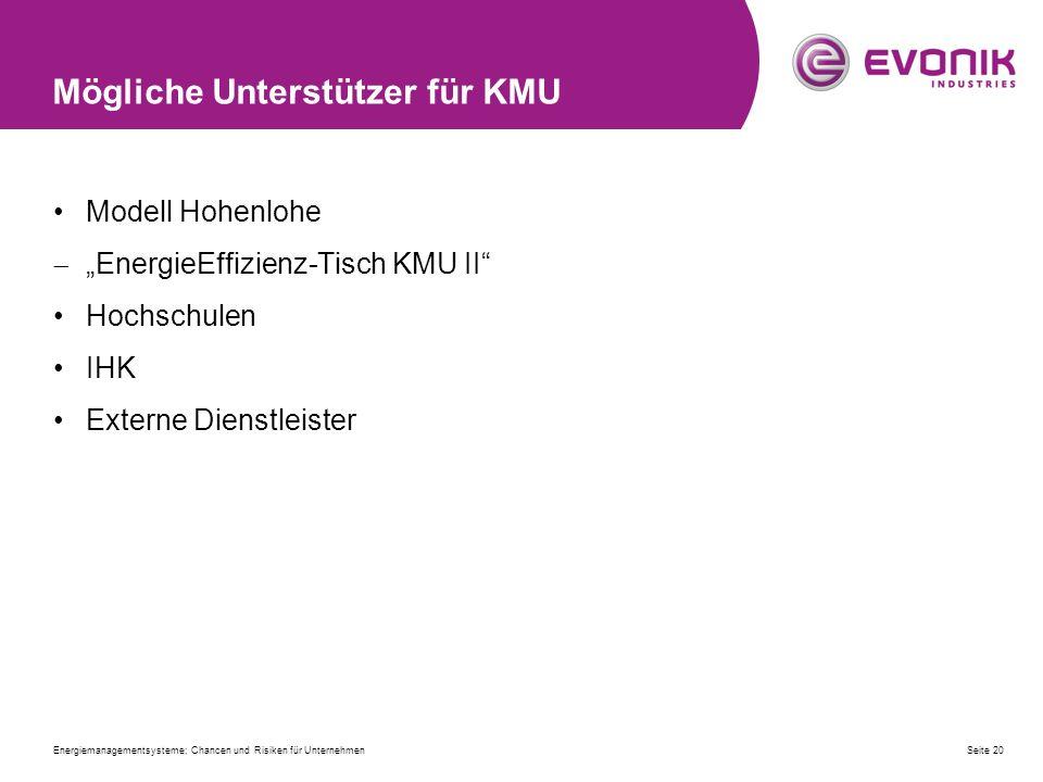 """Mögliche Unterstützer für KMU Modell Hohenlohe  """"EnergieEffizienz-Tisch KMU II"""" Hochschulen IHK Externe Dienstleister Energiemanagementsysteme; Chanc"""