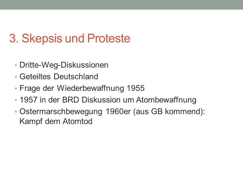 3. Skepsis und Proteste Dritte-Weg-Diskussionen Geteiltes Deutschland Frage der Wiederbewaffnung 1955 1957 in der BRD Diskussion um Atombewaffnung Ost