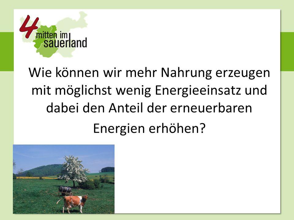 Wie können wir mehr Nahrung erzeugen mit möglichst wenig Energieeinsatz und dabei den Anteil der erneuerbaren Energien erhöhen?