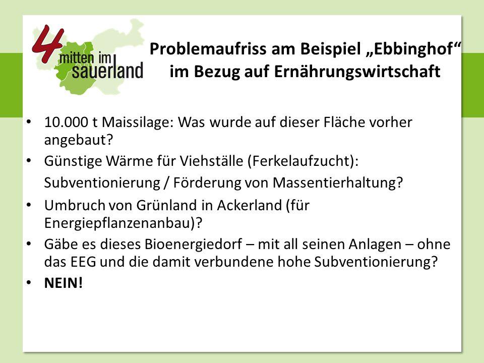 """Problemaufriss am Beispiel """"Ebbinghof"""" im Bezug auf Ernährungswirtschaft 10.000 t Maissilage: Was wurde auf dieser Fläche vorher angebaut? Günstige Wä"""