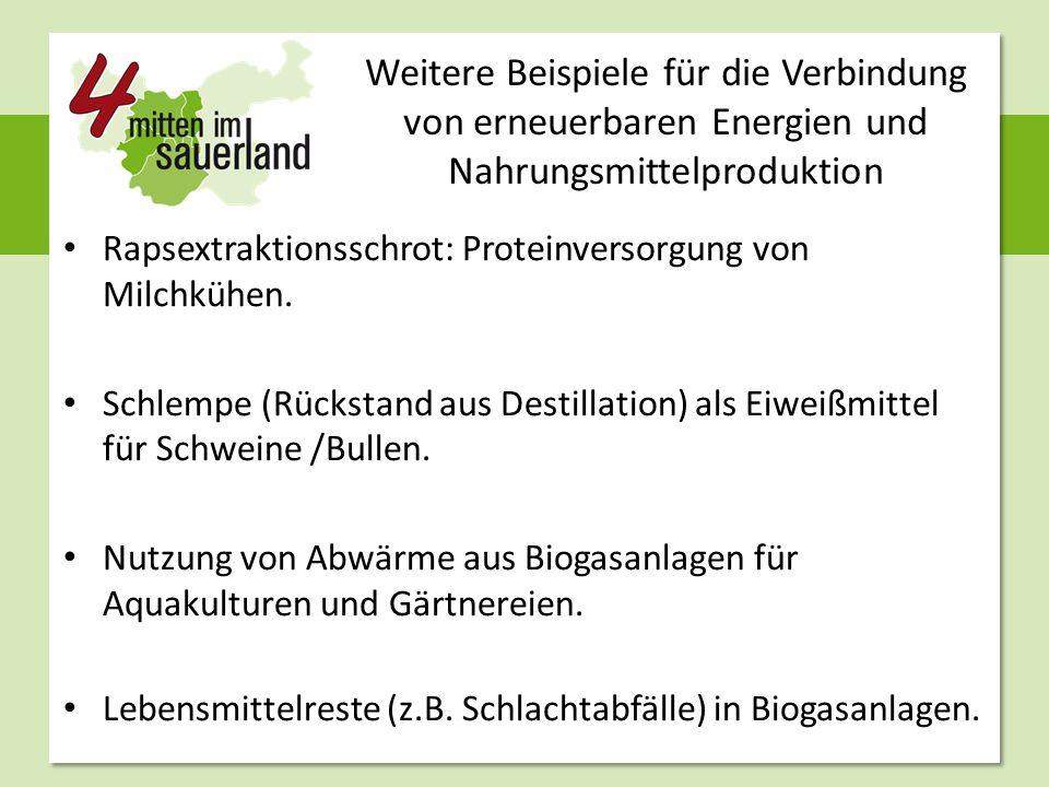 Weitere Beispiele für die Verbindung von erneuerbaren Energien und Nahrungsmittelproduktion Rapsextraktionsschrot: Proteinversorgung von Milchkühen. S
