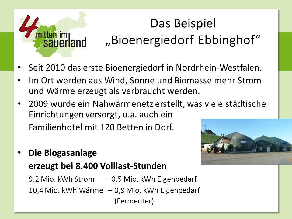 """Das Beispiel """"Bioenergiedorf Ebbinghof"""" Seit 2010 das erste Bioenergiedorf in Nordrhein-Westfalen. Im Ort werden aus Wind, Sonne und Biomasse mehr Str"""