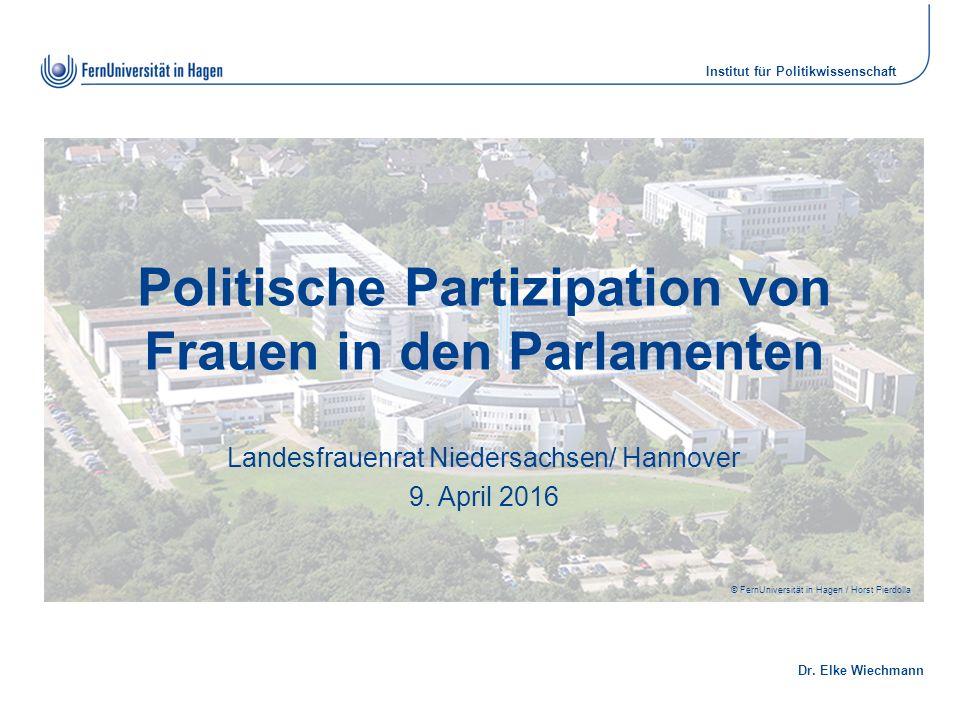 Dr. Elke Wiechmann Institut für Politikwissenschaft © FernUniversität in Hagen / Horst Pierdolla Politische Partizipation von Frauen in den Parlamente