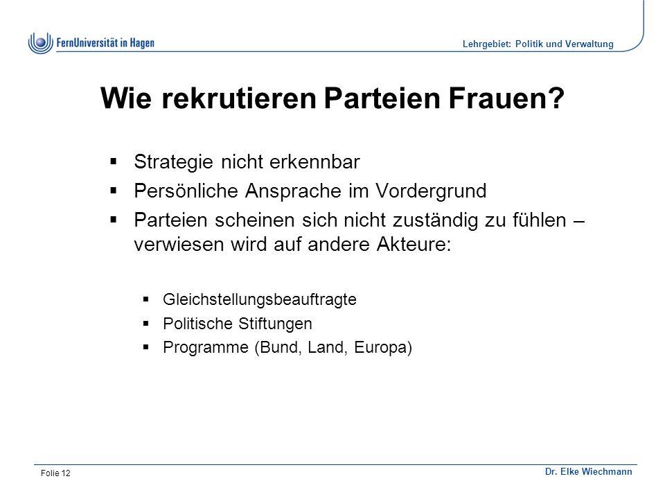 Institut für Politikwissenschaft Dr. Elke Wiechmann Lehrgebiet: Politik und Verwaltung Folie 12 Wie rekrutieren Parteien Frauen?  Strategie nicht erk