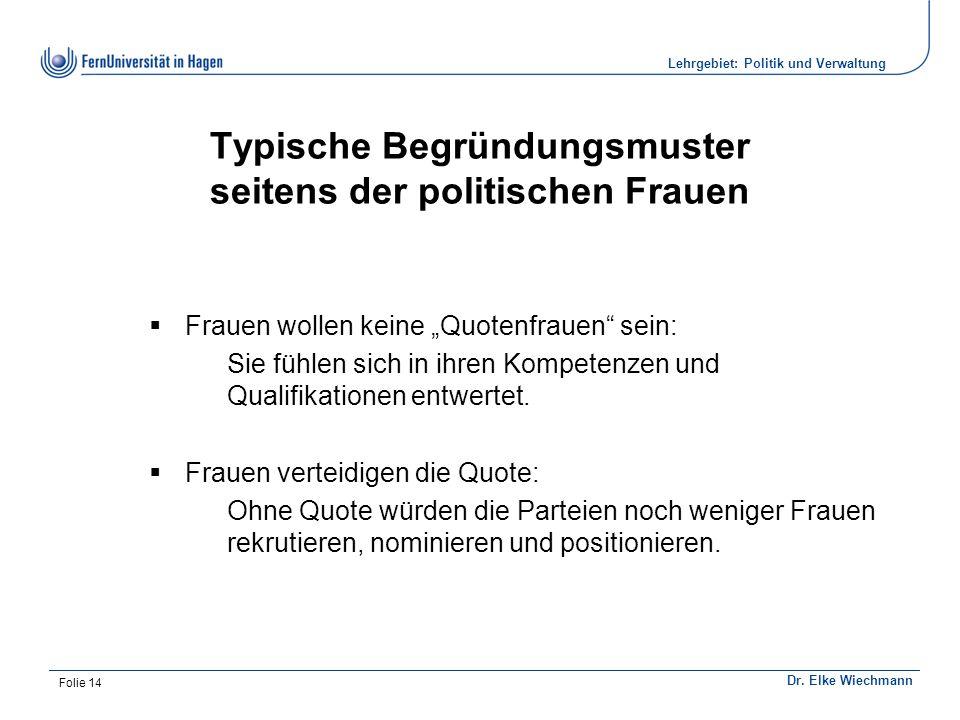 Institut für Politikwissenschaft Dr. Elke Wiechmann Lehrgebiet: Politik und Verwaltung Folie 14 Typische Begründungsmuster seitens der politischen Fra