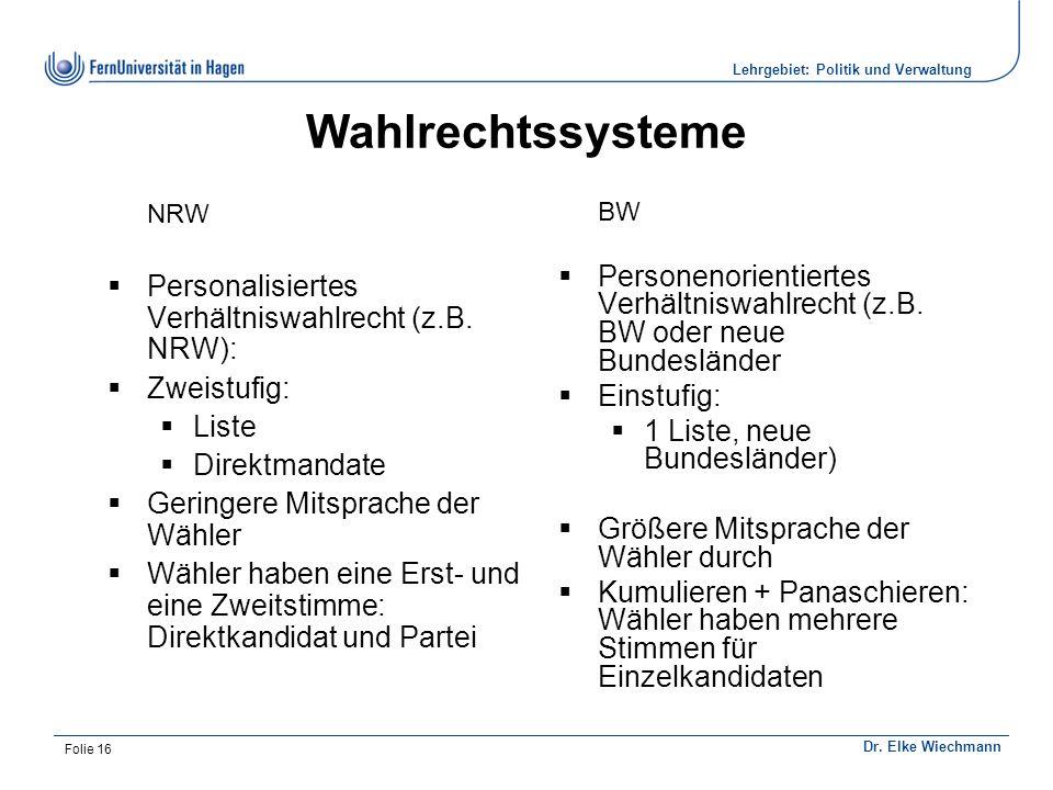 Institut für Politikwissenschaft Dr. Elke Wiechmann Lehrgebiet: Politik und Verwaltung Folie 16 Wahlrechtssysteme NRW  Personalisiertes Verhältniswah