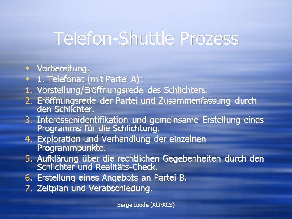 Serge Loode (ACPACS) Telefon-Shuttle Prozess  Vorbereitung.