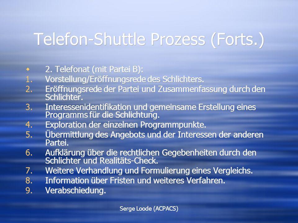 Serge Loode (ACPACS) Telefon-Shuttle Prozess (Forts.)  2.