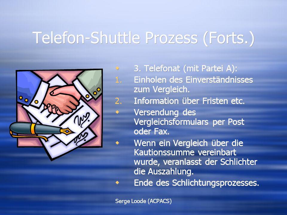 Serge Loode (ACPACS) Telefon-Shuttle Prozess (Forts.)  3.