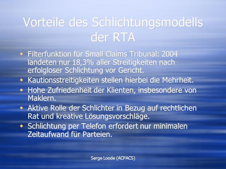 Serge Loode (ACPACS) Vorteile des Schlichtungsmodells der RTA  Filterfunktion für Small Claims Tribunal: 2004 landeten nur 18,3% aller Streitigkeiten nach erfolgloser Schlichtung vor Gericht.