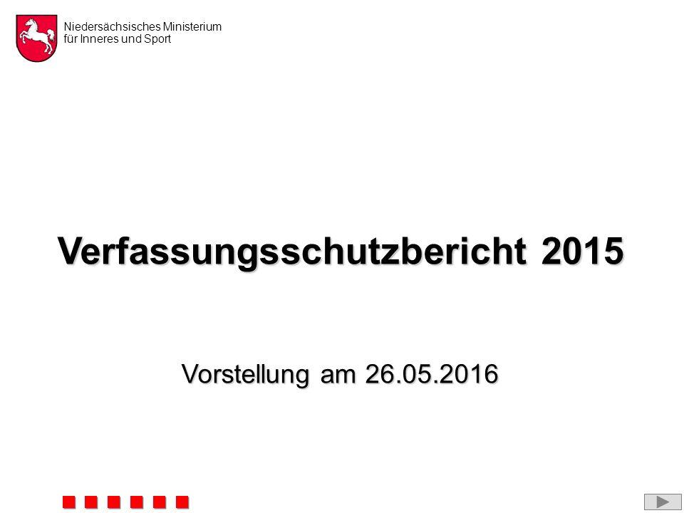 Niedersächsisches Ministerium für Inneres und Sport Verfassungsschutzbericht 2015 Vorstellung am 26.05.2016