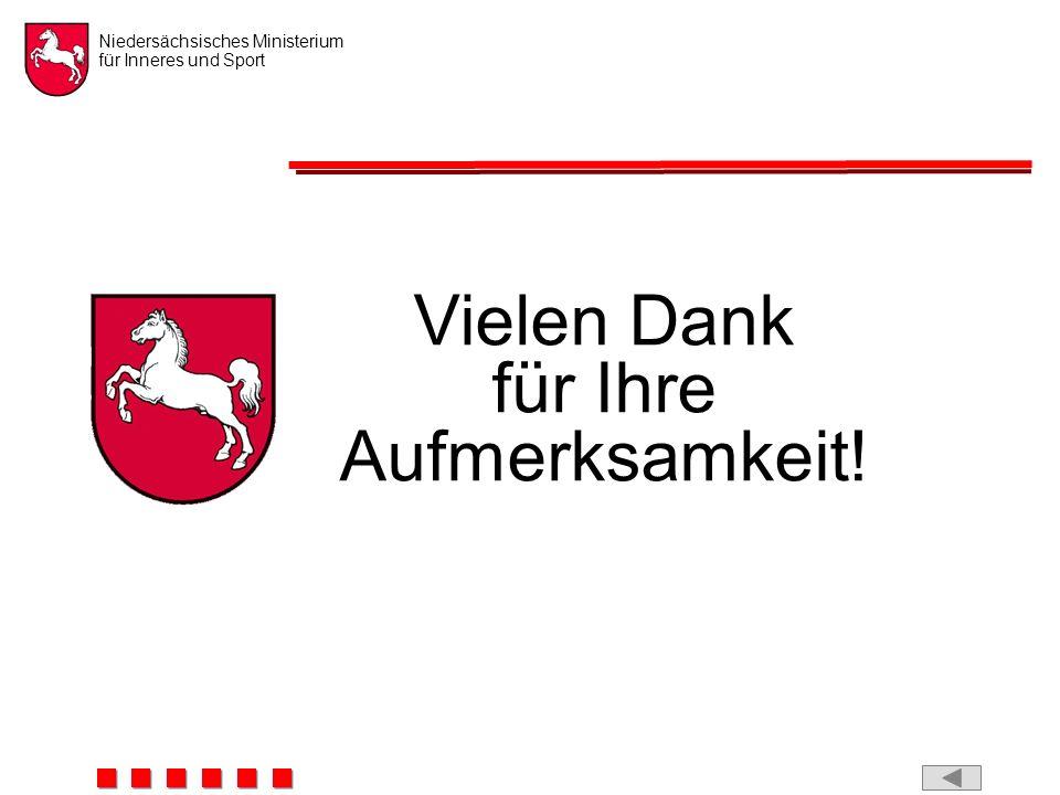 Niedersächsisches Ministerium für Inneres und Sport Vielen Dank für Ihre Aufmerksamkeit!