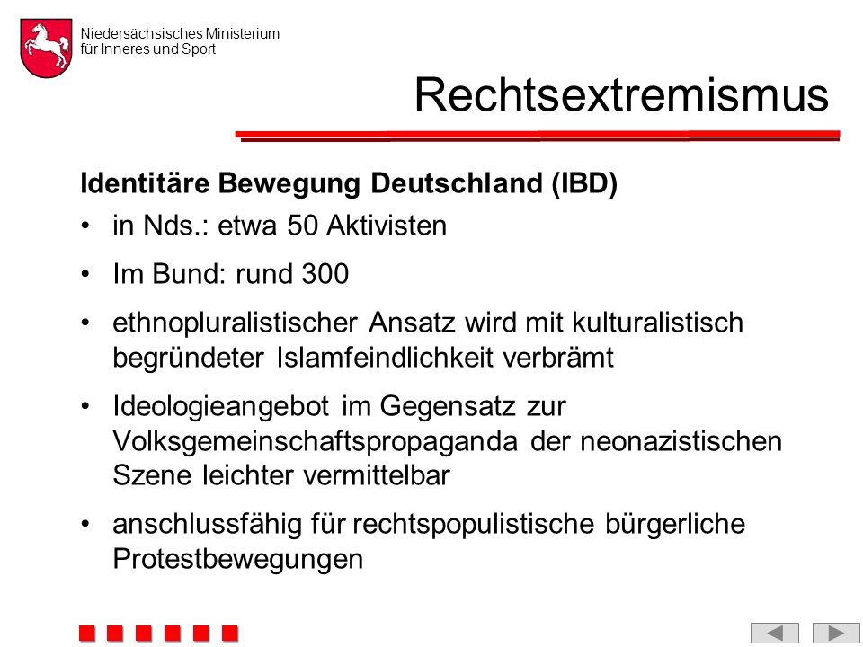 Niedersächsisches Ministerium für Inneres und Sport Rechtsextremismus Identitäre Bewegung Deutschland (IBD) in Nds.: etwa 50 Aktivisten Im Bund: rund