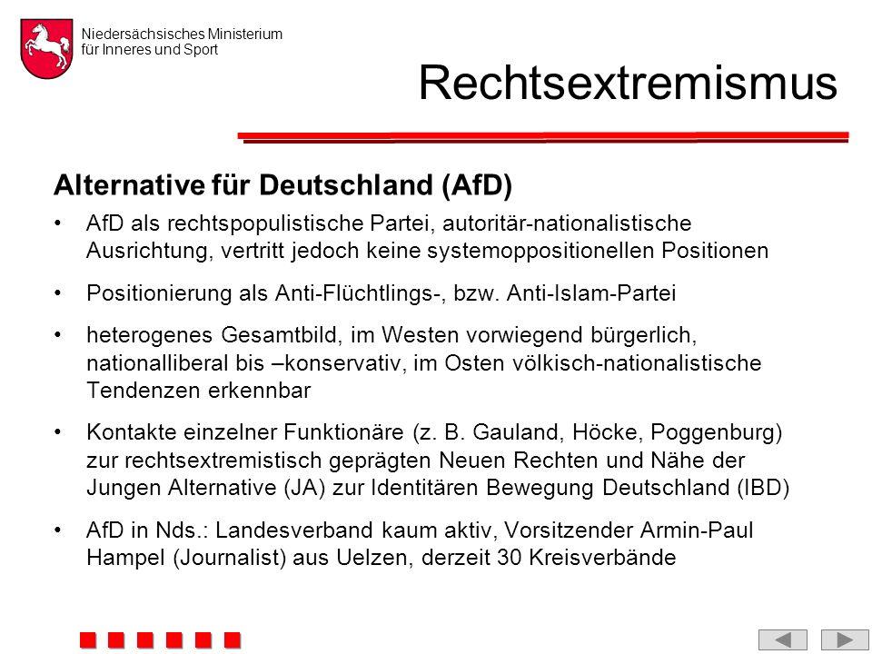 Niedersächsisches Ministerium für Inneres und Sport Rechtsextremismus Alternative für Deutschland (AfD) AfD als rechtspopulistische Partei, autoritär-nationalistische Ausrichtung, vertritt jedoch keine systemoppositionellen Positionen Positionierung als Anti-Flüchtlings-, bzw.