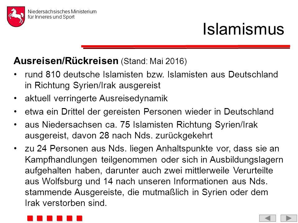 Niedersächsisches Ministerium für Inneres und Sport Islamismus Ausreisen/Rückreisen (Stand: Mai 2016) rund 810 deutsche Islamisten bzw.