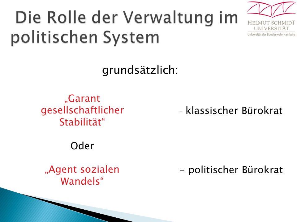 "grundsätzlich: ""Garant gesellschaftlicher Stabilität Oder ""Agent sozialen Wandels – klassischer Bürokrat - politischer Bürokrat"