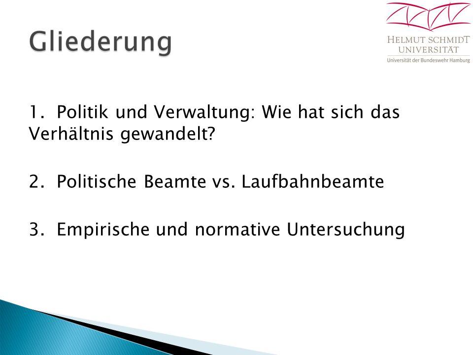 1. Politik und Verwaltung: Wie hat sich das Verhältnis gewandelt? 2. Politische Beamte vs. Laufbahnbeamte 3. Empirische und normative Untersuchung