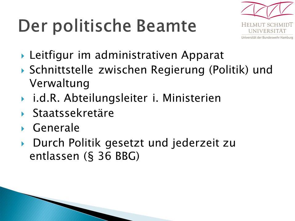 Der politische Beamte  Leitfigur im administrativen Apparat  Schnittstelle zwischen Regierung (Politik) und Verwaltung  i.d.R. Abteilungsleiter i.