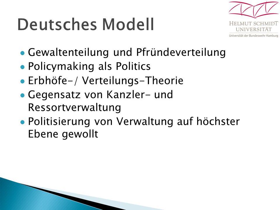 Deutsches Modell Gewaltenteilung und Pfründeverteilung Policymaking als Politics Erbhöfe-/ Verteilungs-Theorie Gegensatz von Kanzler- und Ressortverwa