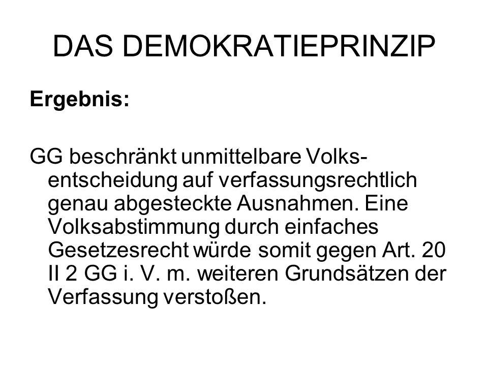 DAS DEMOKRATIEPRINZIP Ergebnis: GG beschränkt unmittelbare Volks- entscheidung auf verfassungsrechtlich genau abgesteckte Ausnahmen. Eine Volksabstimm