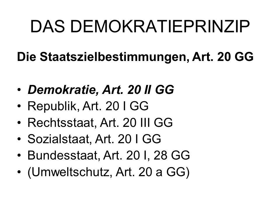 DAS DEMOKRATIEPRINZIP Die Staatszielbestimmungen, Art. 20 GG Demokratie, Art. 20 II GG Republik, Art. 20 I GG Rechtsstaat, Art. 20 III GG Sozialstaat,