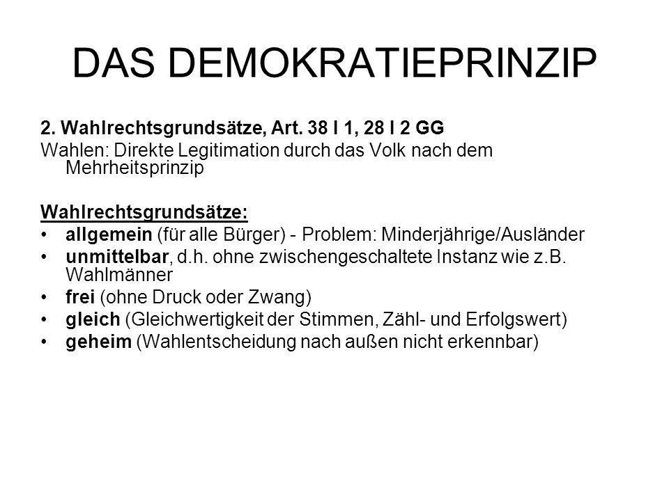 DAS DEMOKRATIEPRINZIP 2. Wahlrechtsgrundsätze, Art. 38 I 1, 28 I 2 GG Wahlen: Direkte Legitimation durch das Volk nach dem Mehrheitsprinzip Wahlrechts