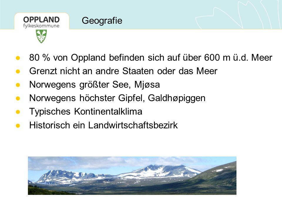 ●80 % von Oppland befinden sich auf über 600 m ü.d. Meer ●Grenzt nicht an andre Staaten oder das Meer ●Norwegens größter See, Mjøsa ●Norwegens höchste