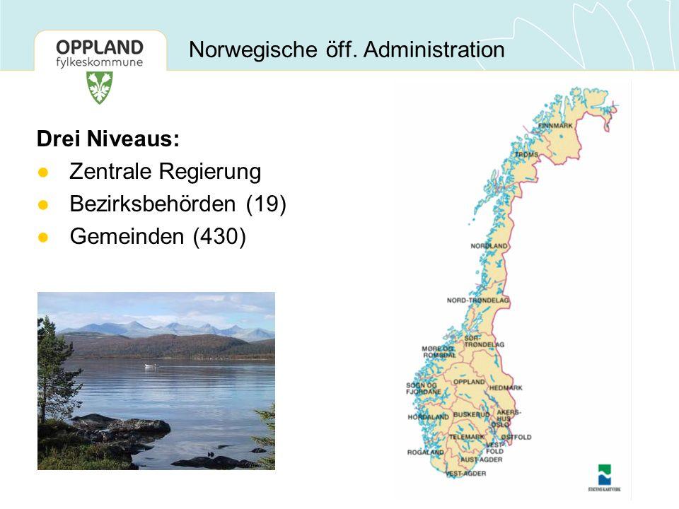 Norwegische öff. Administration Drei Niveaus: ●Zentrale Regierung ●Bezirksbehörden (19) ●Gemeinden (430)