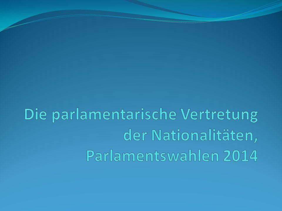 Diejenige Nationalität, die eine Nationalitätenliste aufgestellt hat, aber kein Mandat erwirbt, wird im ungarischen Parlament von einem Nationalitätensprecher vertreten.
