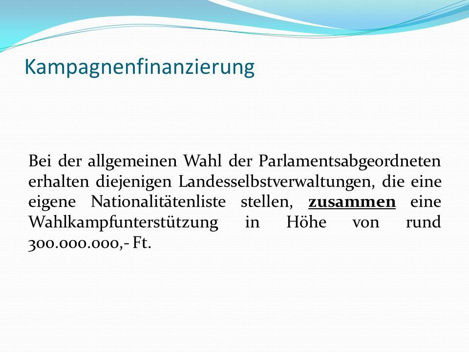 Kampagnenfinanzierung Bei der allgemeinen Wahl der Parlamentsabgeordneten erhalten diejenigen Landesselbstverwaltungen, die eine eigene Nationalitäten