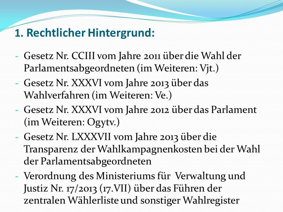 1. Rechtlicher Hintergrund: - Gesetz Nr. CCIII vom Jahre 2011 über die Wahl der Parlamentsabgeordneten (im Weiteren: Vjt.) - Gesetz Nr. XXXVI vom Jahr