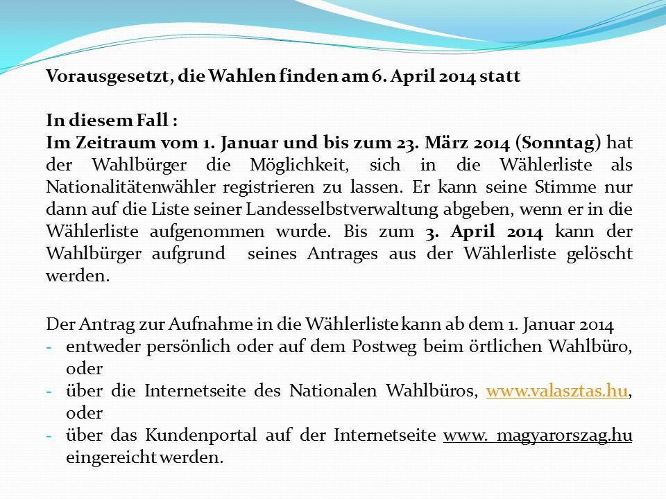 Vorausgesetzt, die Wahlen finden am 6. April 2014 statt In diesem Fall : Im Zeitraum vom 1. Januar und bis zum 23. März 2014 (Sonntag) hat der Wahlbür