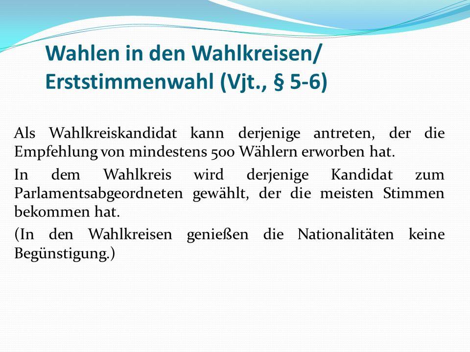 Die Nationalitätenliste wird von der Landesselbstverwaltung der jeweiligen Nationalität gestellt.