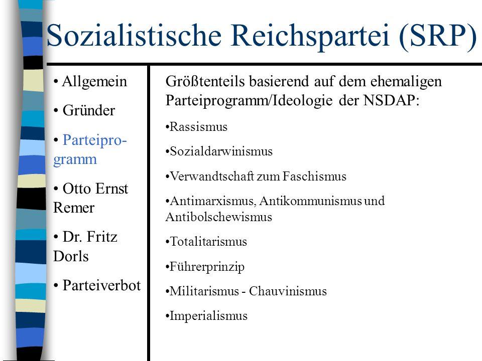 Sozialistische Reichspartei (SRP) Größtenteils basierend auf dem ehemaligen Parteiprogramm/Ideologie der NSDAP: Rassismus Sozialdarwinismus Verwandtschaft zum Faschismus Antimarxismus, Antikommunismus und Antibolschewismus Totalitarismus Führerprinzip Militarismus - Chauvinismus Imperialismus Allgemein Gründer Parteipro- gramm Otto Ernst Remer Dr.