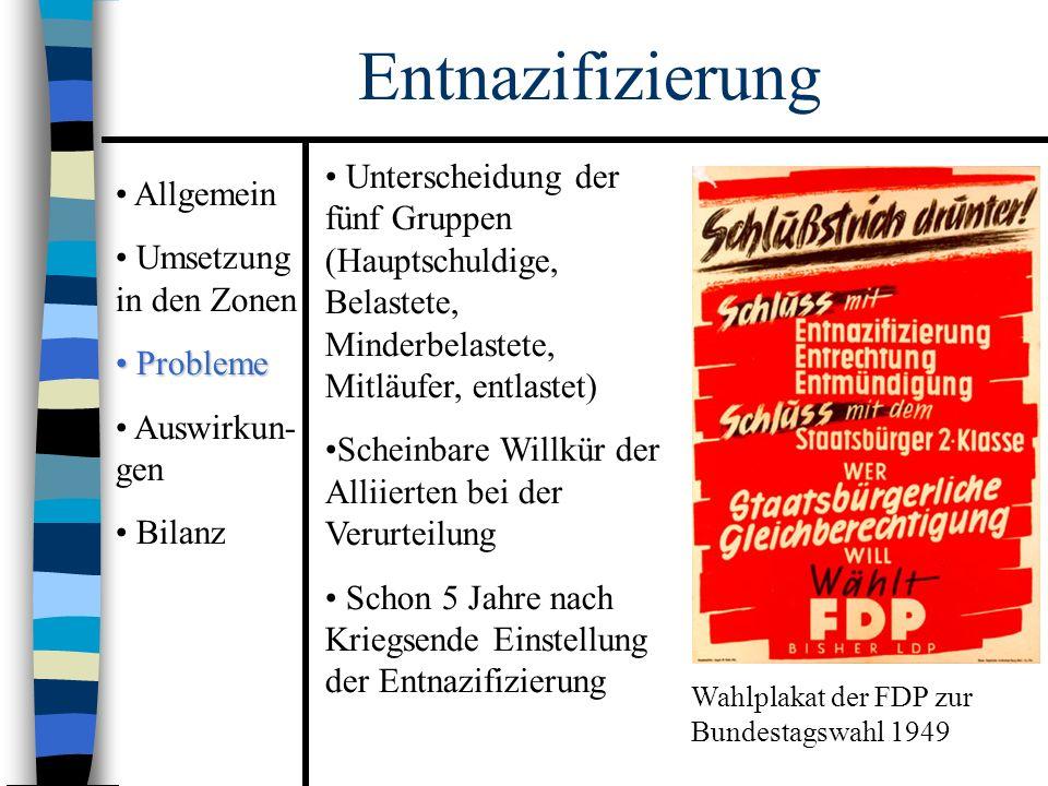 Allgemein Umsetzung in den Zonen Probleme Probleme Auswirkun- gen Bilanz Entnazifizierung Unterscheidung der fünf Gruppen (Hauptschuldige, Belastete, Minderbelastete, Mitläufer, entlastet) Scheinbare Willkür der Alliierten bei der Verurteilung Schon 5 Jahre nach Kriegsende Einstellung der Entnazifizierung Wahlplakat der FDP zur Bundestagswahl 1949
