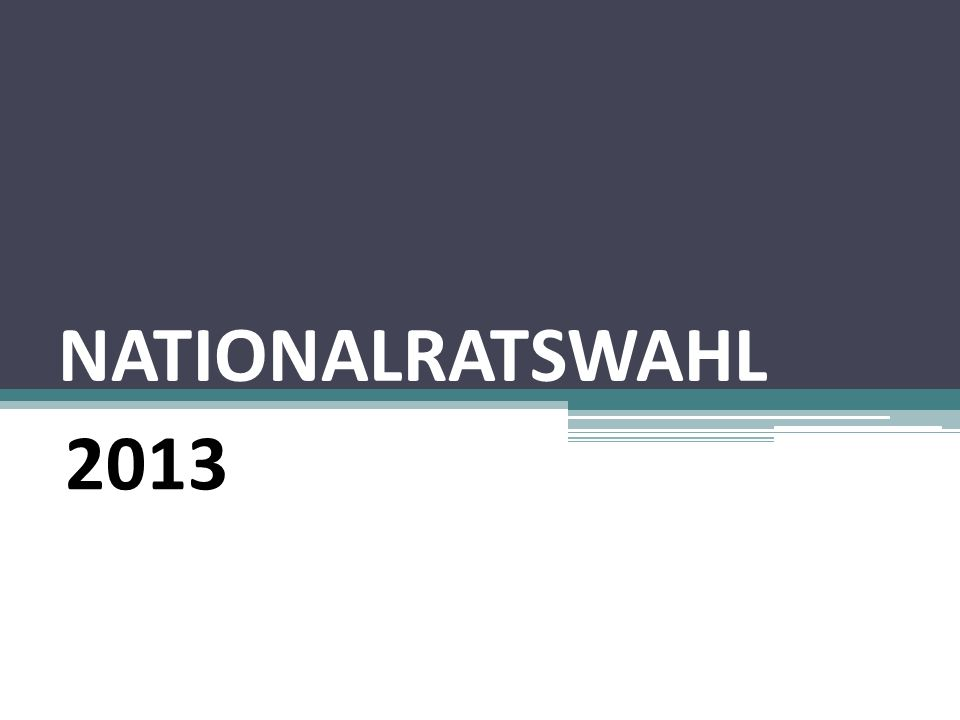 NATIONALRATSWAHL 2013